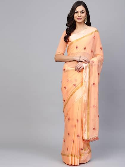 f79b65182c645 Peach Saree - Buy Peach Color Sarees online