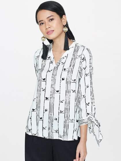 Global Desi Women White Printed Top
