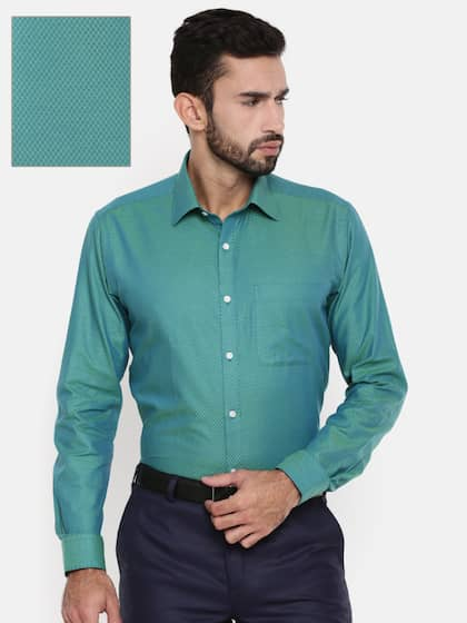 Raymond Men Green Slim Fit Checked Formal Shirt