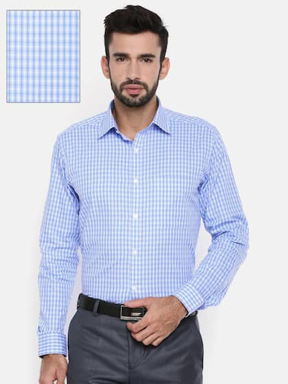 Raymond Men Off-White & Blue Slim Fit Checked Formal Shirt