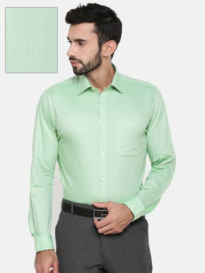 Raymond Men Green Slim Fit Self Design Formal Shirt