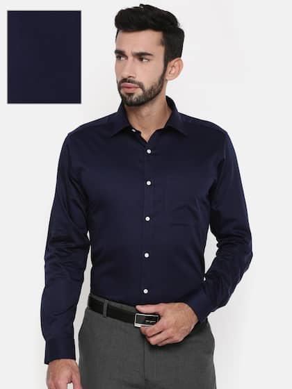 Raymond Men Navy Blue Slim Fit Self Design Formal Shirt