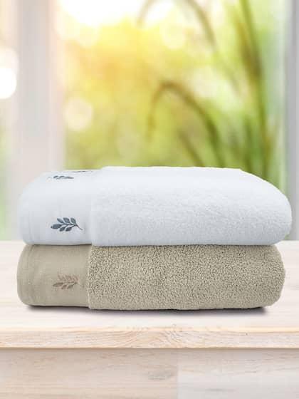 Swiss Republic Rivera Leaf Set Of 2 White Brown 600 GSM Bath Towels
