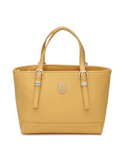 Tommy Hilfiger Yellow Solid Handheld Bag