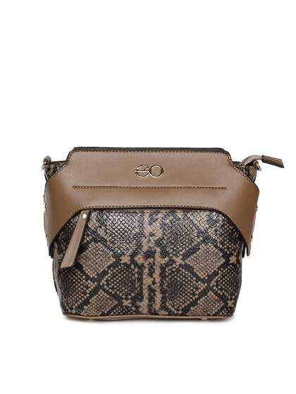 E2o Tan Brown Printed Sling Bag