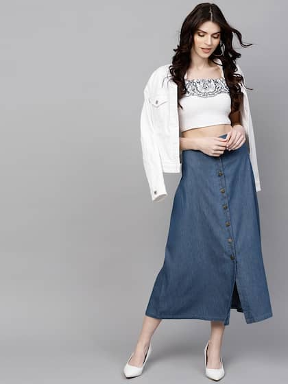 ad37908d60 Denim Skirts - Buy Denim Skirts for Women Online | Myntra