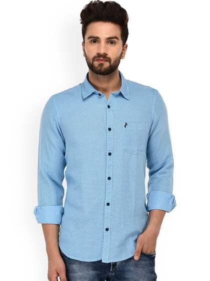 b9625fa609a7 Men Sky Blue Jeans Shirts Buy Men Sky Blue Jeans Shirts Online In