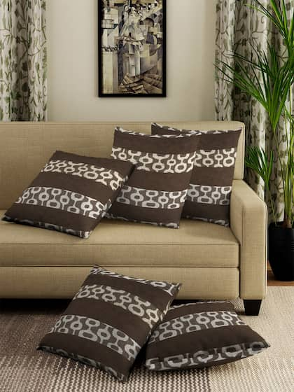NEUDIS Brown Set of 5 Geometric Square Cushion Covers