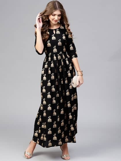 93374012f4b Neck. + 11 more. Libas Women Black   Golden Block Print Maxi Dress