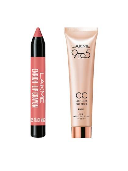 ... lakme 9to5 almond plexion care cream 30g peach magnet enrich lip crayon 05 ...
