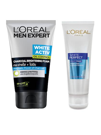 LOreal Paris White Perfect Milky Foam Face Wash & Activ Charcoal Brightening Foam ...
