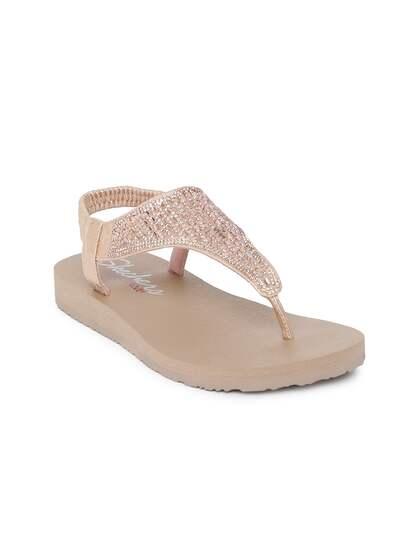 96862cec06be Skechers Women Rose Gold-Toned Meditation Rock Crown Embellished T-Strap  Flats
