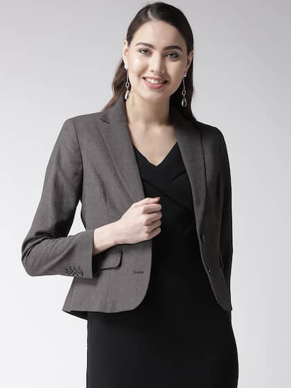 e294c3e690 Marks & Spencer Women Charcoal Grey Solid Single-Breasted Formal Blazer