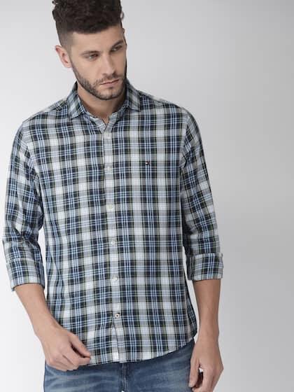 Tommy Hilfiger Blue Checkered Linen Shirt Hilfiger Denim Collection for men