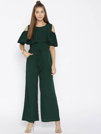f3f17aa9d Cottinfab Olive Green Solid Cold-Shoulder Jumpsuit