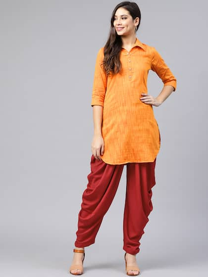 c958264ad Shree Women Mustard Yellow & Maroon Solid Kurta with Dhoti Pants