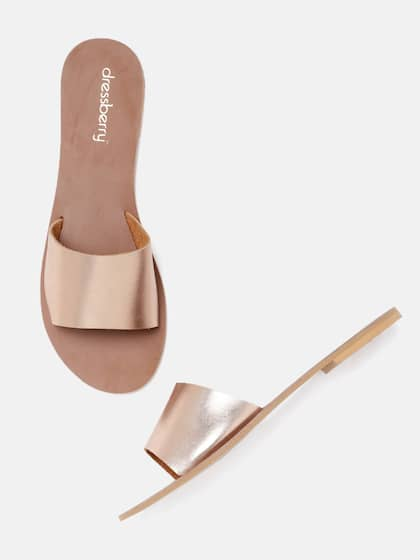 e880d0cad8b480 DressBerry Women Rose Gold Solid Synthetic Open Toe Flats