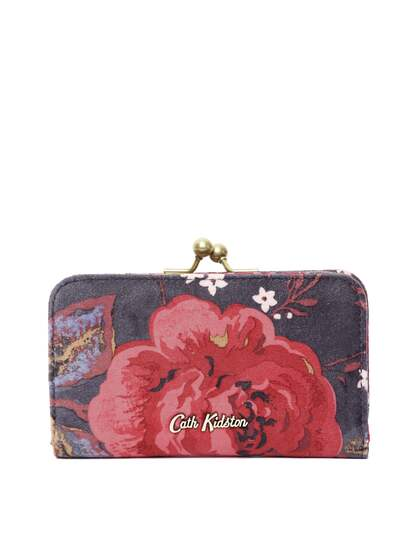 Cath Kidston Women Charcoal Grey   Red Floral Print Two Fold Wallet with  Velvet Finish 54a9beddef31c