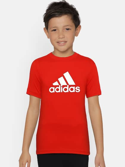 huge discount c1751 ad7bc ADIDAS Boys Red Solid Round Neck T-shirt