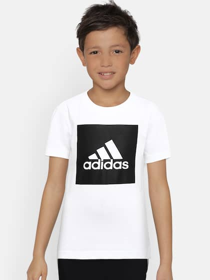 best service 0bc87 821c8 ADIDAS Boys White Printed Round Neck T-shirt