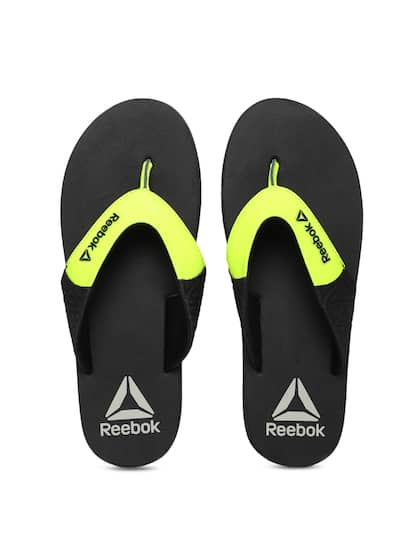 8cc0067b9740e Reebok Men Fluroscent Green   Black Colourblocked Thong Flip-Flops