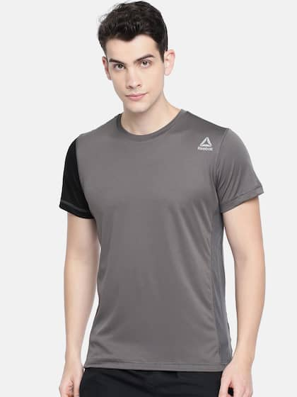 379ed82c42f0 Neck. + 9 more. Reebok Men Grey CONTRAST POLY Slim Fit Solid T-shirt