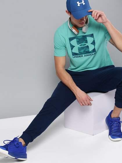 58d93fe2797c UNDER ARMOUR Men Blue Printed Boxed Sportstyle T-shirt