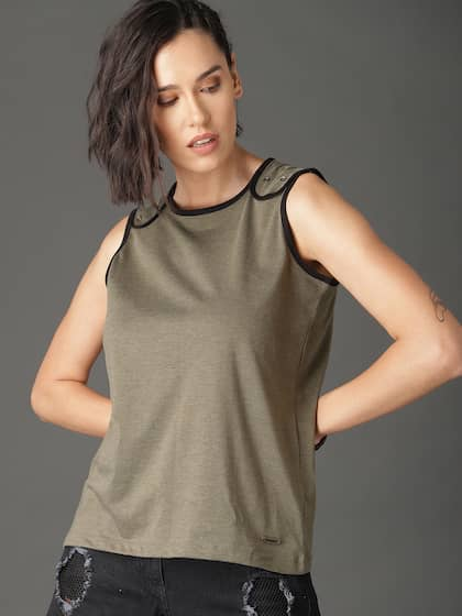 18b83d3f7aaac Neck. + 10 more. Roadster Women Olive Green Solid Tank Top
