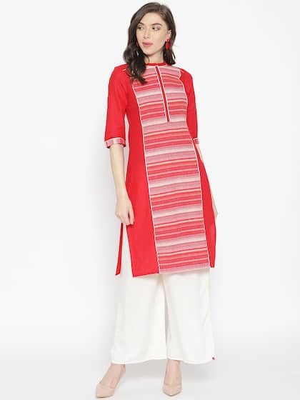 5cfaf830ccb0 AURELIA Women Red   White Striped Woven Design Straight Kurta