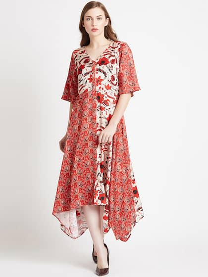 9d730b80ae280 COVER STORY Women Red Printed Fit and Flare Dress