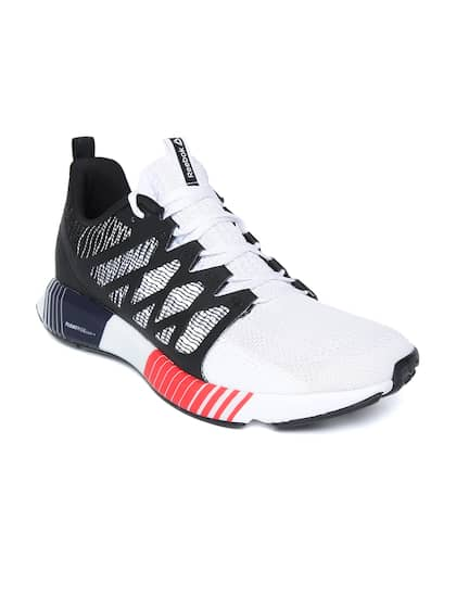 new styles c12aa 8e43c Reebok Men White   Black Fusion Flexweave Cage Running Shoes