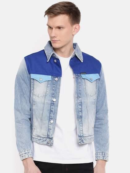 7c75675b18a1c Calvin Klein Jeans. Men Colourblocked Denim Jacket
