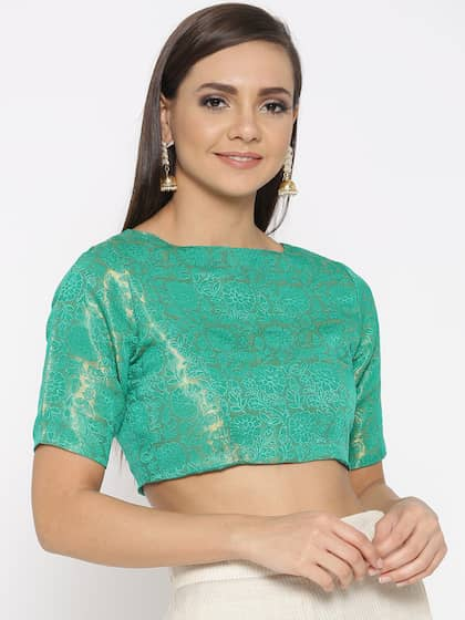 02d3be04a15cb KAANCHIE NANGGIA Women Green   Golden Brocade Non-padded Saree Blouse