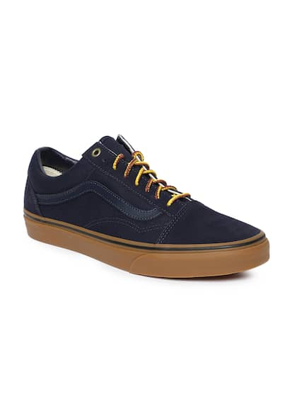 Size. Vans Unisex Navy Blue Leather Sneakers e0953aa3b8a2