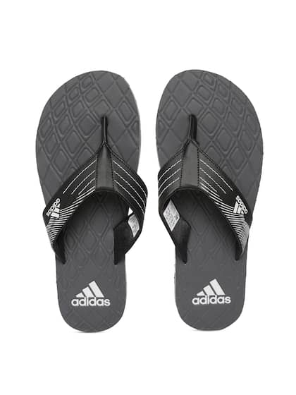 fa5d2461eef7b ADIDAS Men Black & Charcoal Grey GADI 2018 Printed Thong Flip-Flops
