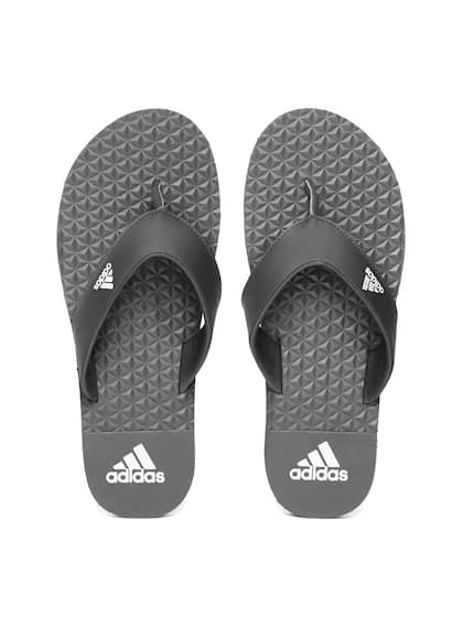 pretty nice 757af c217f ADIDAS Men Black   Charcoal Grey Bise Textured Thong Flip-Flops