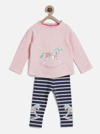 545ceab013 MONSOON CHILDREN Girls Pink Printed T-shirt with Striped Leggings