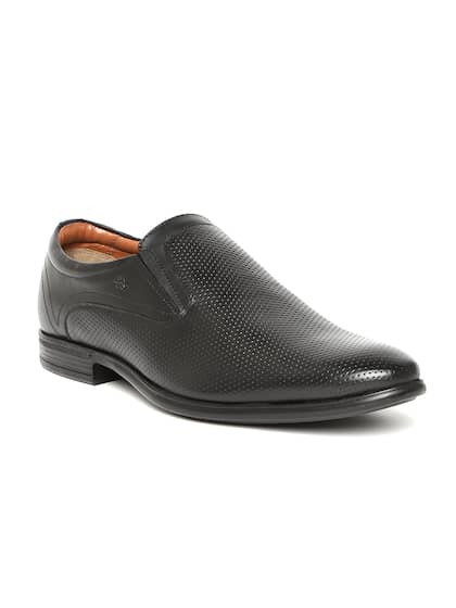 Arrow Men Black Leather Semi-Formal Textured Slip-Ons