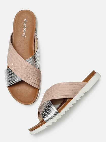 5d3ced977 DressBerry Women Silver-Toned   Nude-Coloured Colourblocked Open Toe Flats