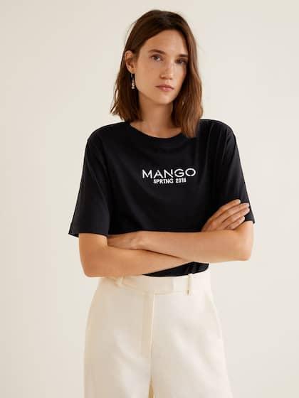 477a241aa5e MANGO Women Black Solid Round Neck T-shirt
