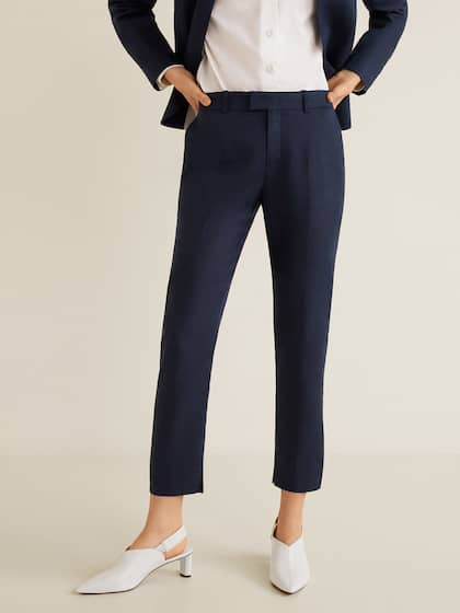 44fc1b967eb MANGO Women Navy Blue Regular Fit Solid Linen Cropped Trousers