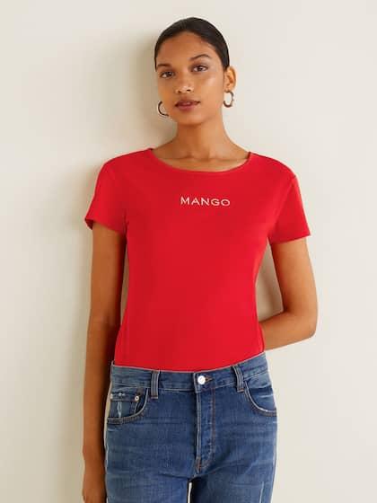 5af0130c8c7326 MANGO Women Red Solid Round Neck T-shirt