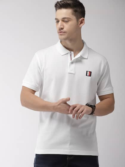 c1a7a549d5 Size. Tommy Hilfiger Men White Solid Polo Collar T-shirt