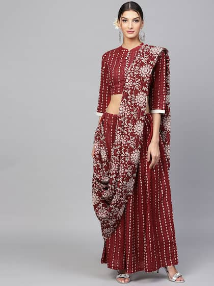 3645b11d99 Stitched Saree - Buy Pre-Stitched Sarees Online in India   Myntra