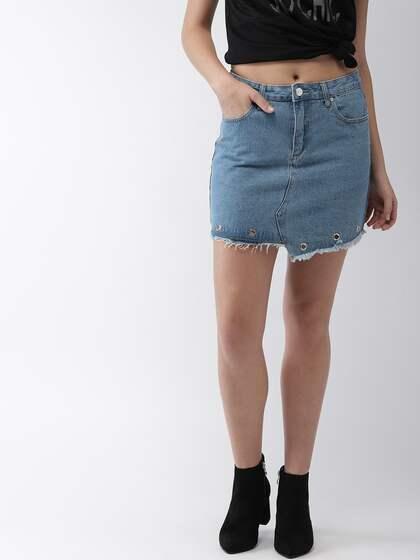 a23a2695aac Denim Skirts - Buy Denim Skirts for Women Online | Myntra