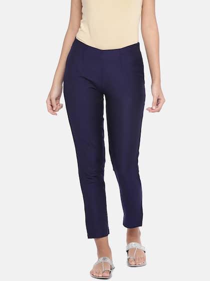Ethnicity Women Navy Blue Regular Fit Solid Regular Trousers