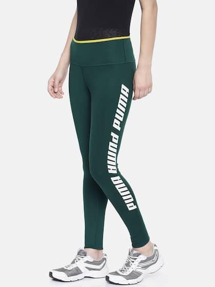 b84fcc42cb11 Puma Women Olive Green Printed Modern Sports FoldUp Legging Ponderosa Tights