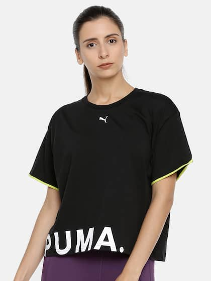 837f6539fc34e Puma Women Black Solid Loose Fit Chase Cotton Round Neck T-shirt