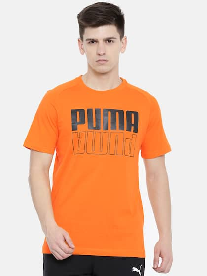 d59b7e9a6596 Puma Men Orange Regular Fit Printed Round Neck Modern Sports Logo DryCell T- shirt