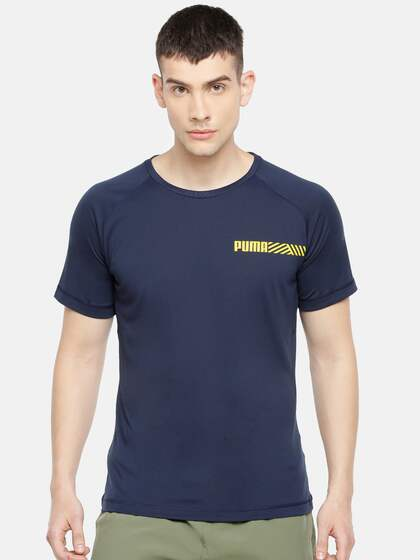 c7889069 Puma Men Navy Blue Solid Slim Fit Tec DRY-CELL Round Neck T-shirt